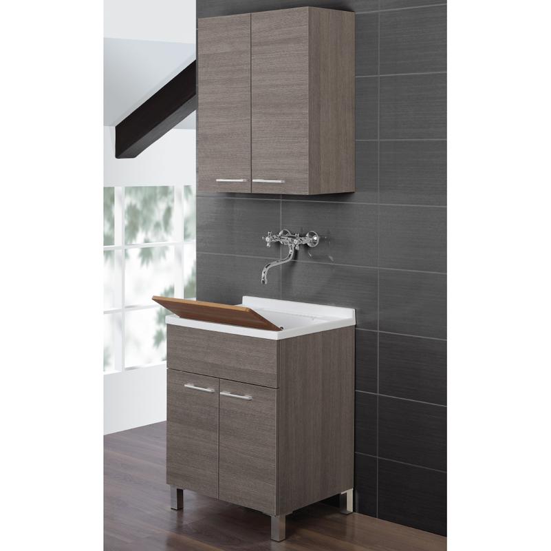 Lavatoio mobile bagno arredo design moderno due ante portaoggetti scuro 527033 - Bagno