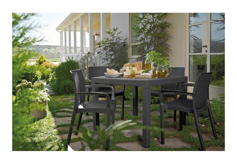 Mesa de terraza y jardin en rattan sintetico modelo for Mesa terraza rattan