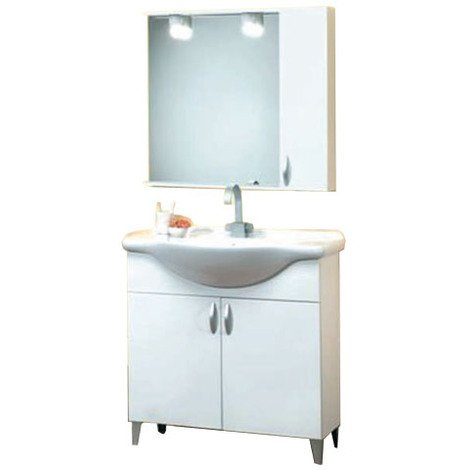 Mobile bagno bianco con specchio + pensile 76x48x88 cm - 37547 - Bagno