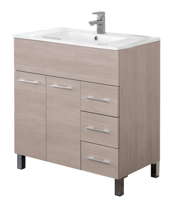 Arredo bagno con mobile lavello in rovere chiaro con - Mobile lavello bagno ...