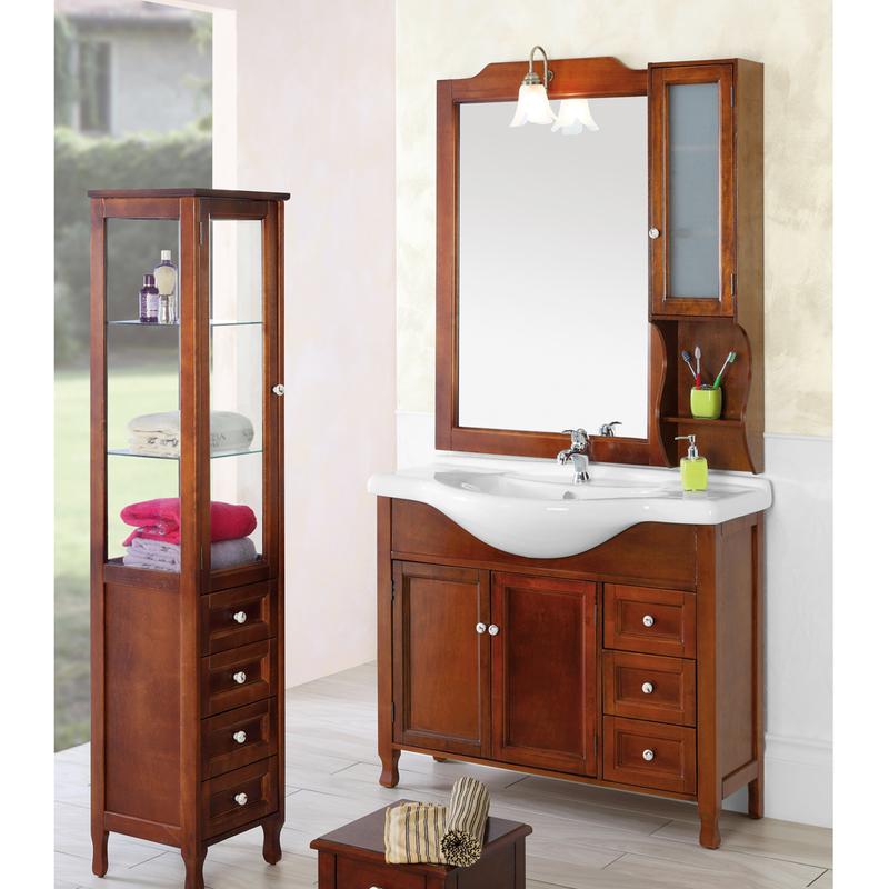 Composizione bagno in legno massello arte povera con - Armadietti bagno economici ...