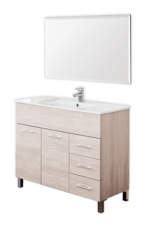 Arredo bagno con mobile lavello in rovere chiaro con - Lavello bagno con mobile ...
