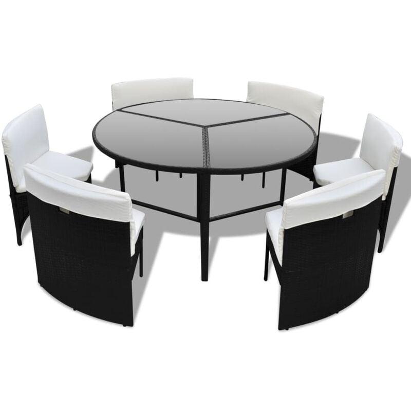 Mobili in polirattan set tavolo rotondo e sedie colore for Tavolo rotondo nero