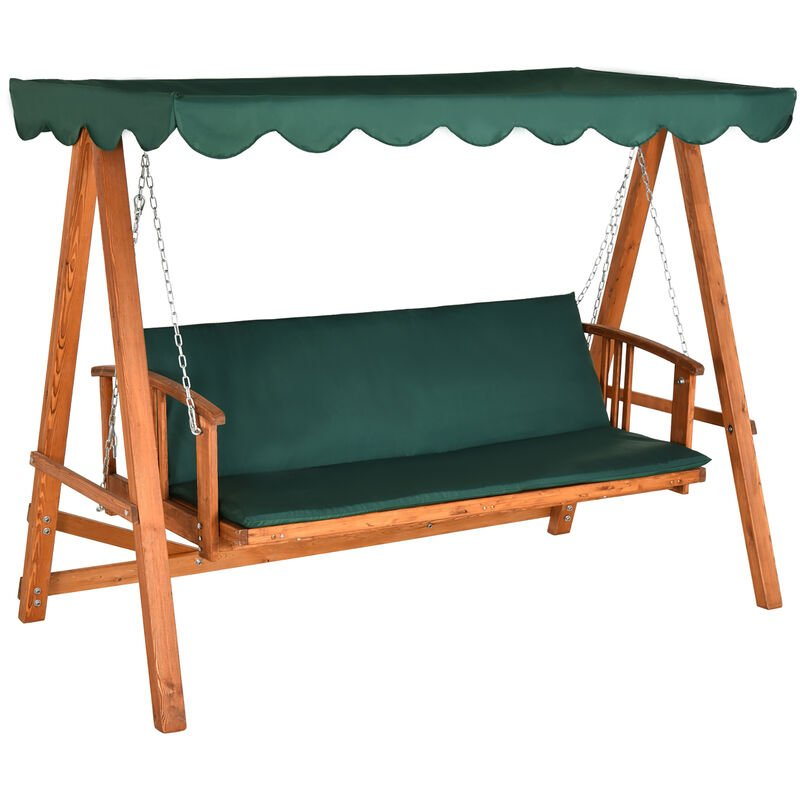 Outsunny deluxe 3 seater wooden garden outdoor swing chair seat hammock bench furniture lounger Wooden swing seats garden furniture