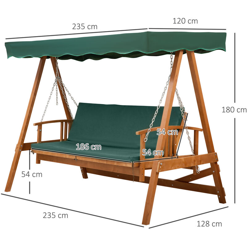 outsunny deluxe 3 seater wooden garden outdoor swing chair