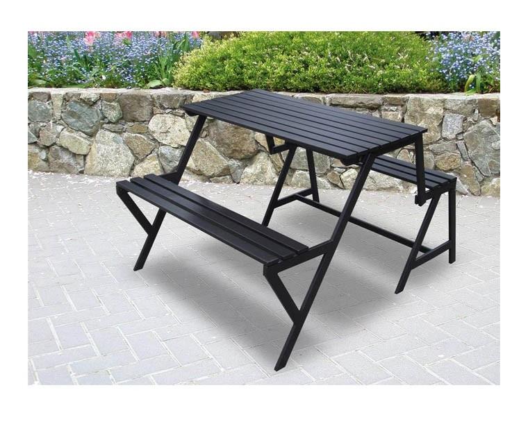 Panca per esterno trasformabile in set da pranzo in ferro for Panca portaoggetti da esterno