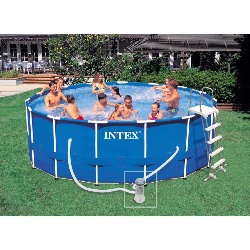 Piscina 457x122 cm intex frame rotonda 28236 giardino for Piscina intex rotonda