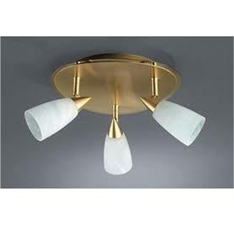 Plafoniera fora 3 faretti alogeni ottonati vetro 055984 for Faretti alogeni