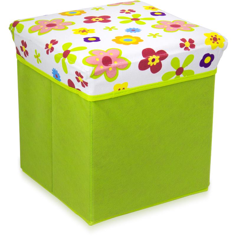 Pouf richiudibile sgabello arredo design casa bagno camera fantasia fiori 749...