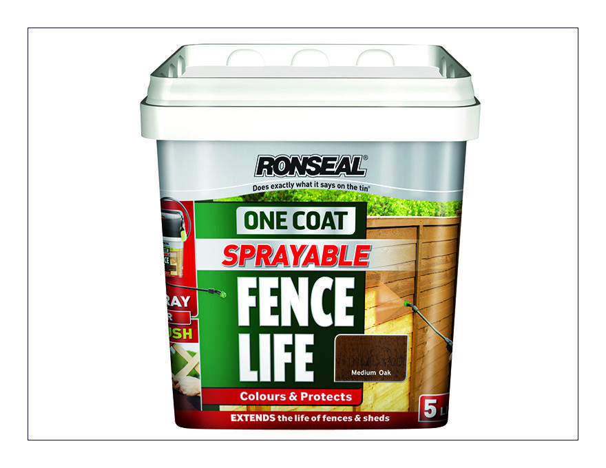 Ronseal one coat sprayable fencelife forest green 5 litre for Decor 5 5 litre