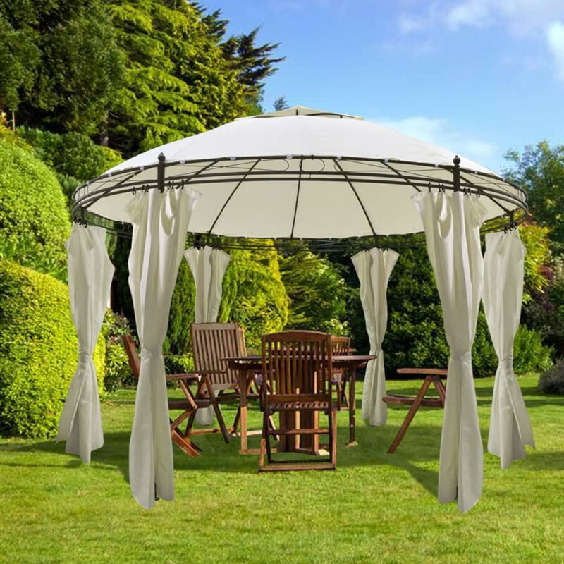 round gazebo with curtains 3 5 x 2 7 m garden swimming pool. Black Bedroom Furniture Sets. Home Design Ideas