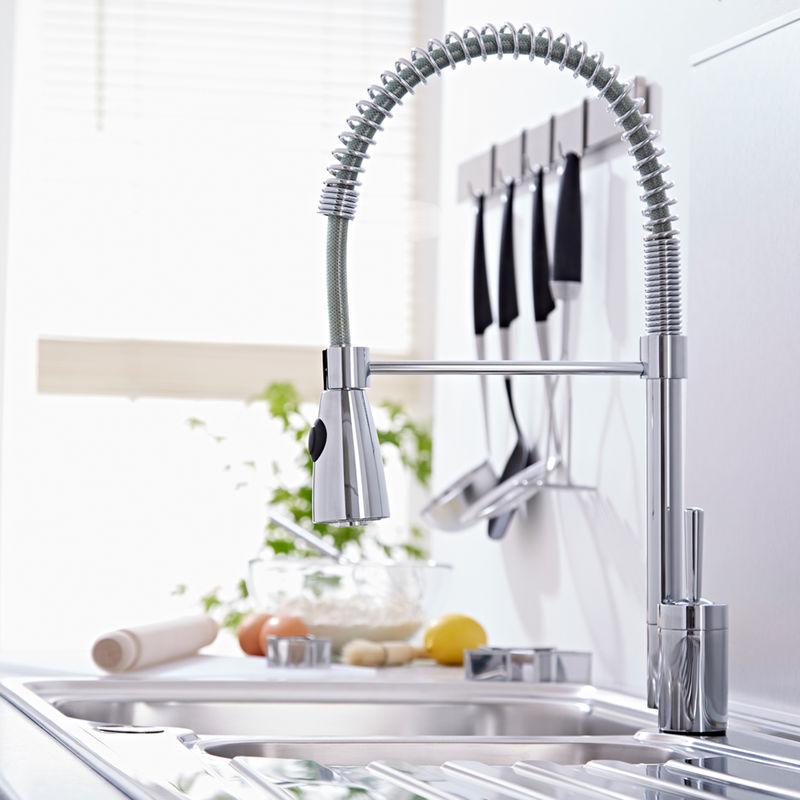 Rubinetto miscelatore monocomando lavello cucina con doccia senza scarico kc315 idraulica - Scarico lavello cucina ...