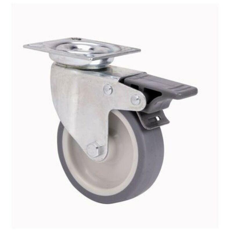 Rueda giratoria goma gris 80 con freno platina 60kg - Ruedas giratorias para muebles ...