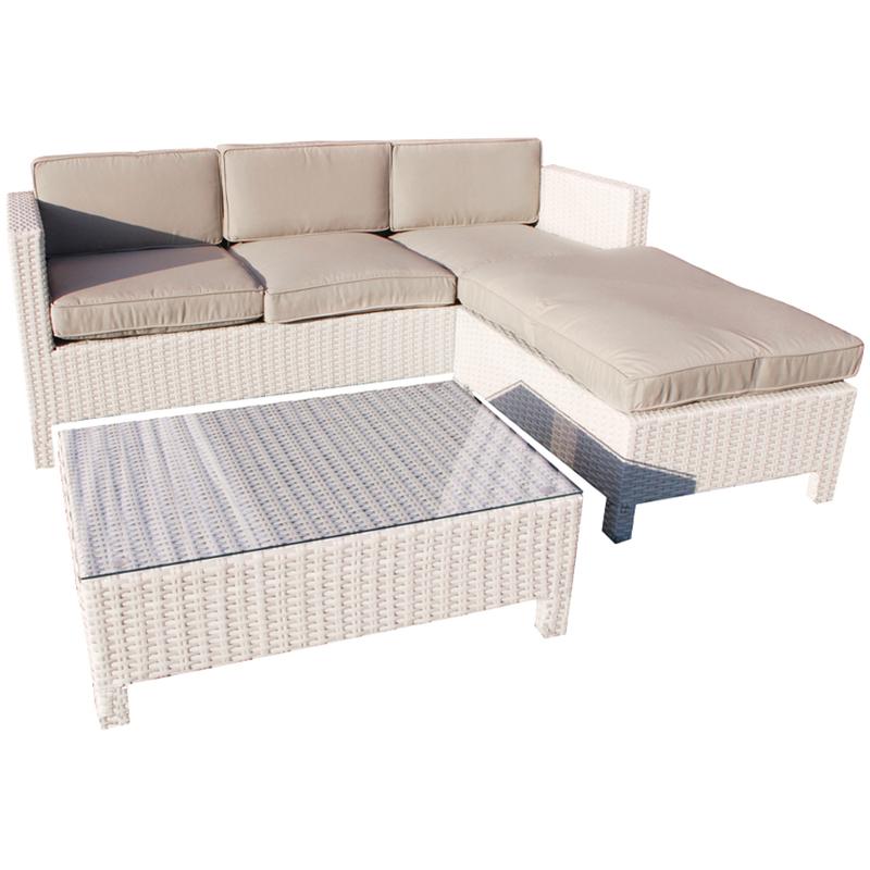 Salotto polirattan divano pouf tavolino bianco + cuscini ...