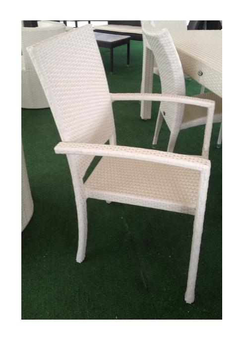 Sedia da Giardino mod. Sciacca con Braccioli in Polyrattan colore Bianco - 94...