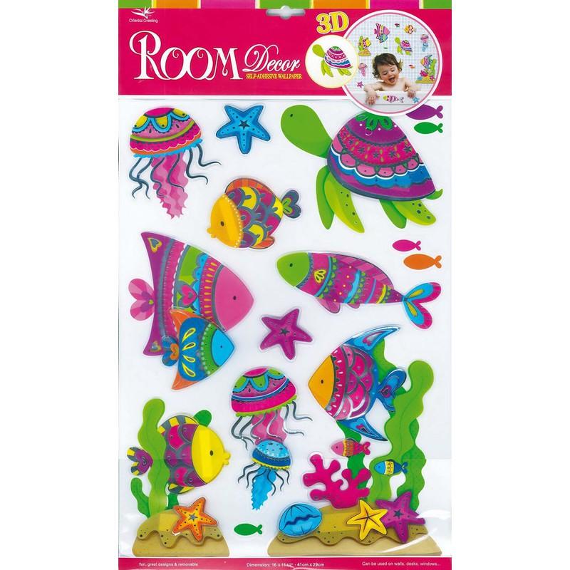 Set 12 adesivi decorativi pesci g4083 for Adesivi decorativi