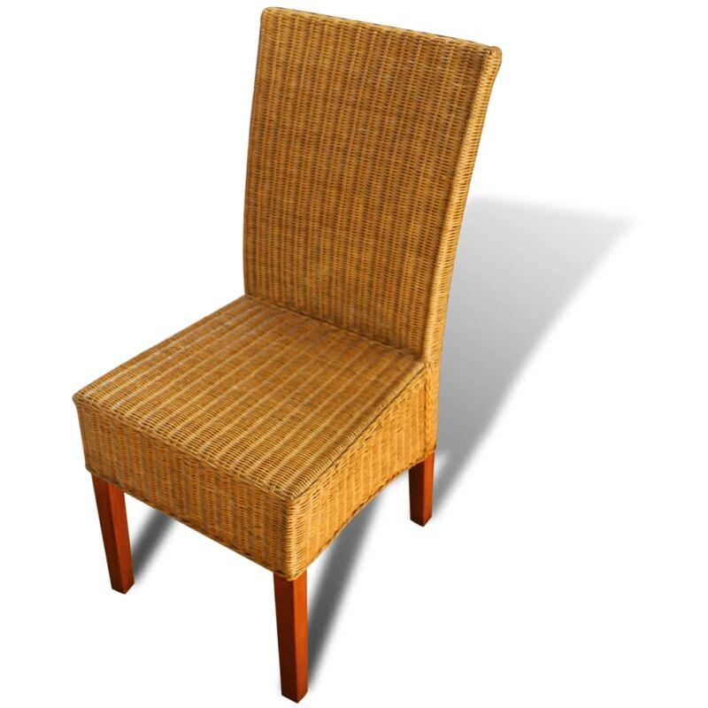 Set 2 sedie da pranzo in rattan intrecciato a mano - Sedie da giardino in rattan ...