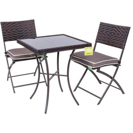 set tavolo con 2 sedie in polyrattan colore marrone