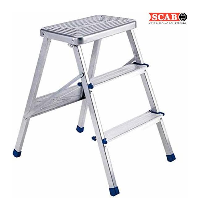 Sgabello pieghevole 3 gradini in alluminio scala apribile for Sgabello o vassoio pieghevole