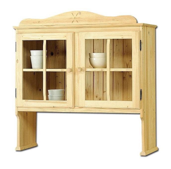 Sopralzo vetrina country in legno massello grezzo in abete 102x36x103 ...