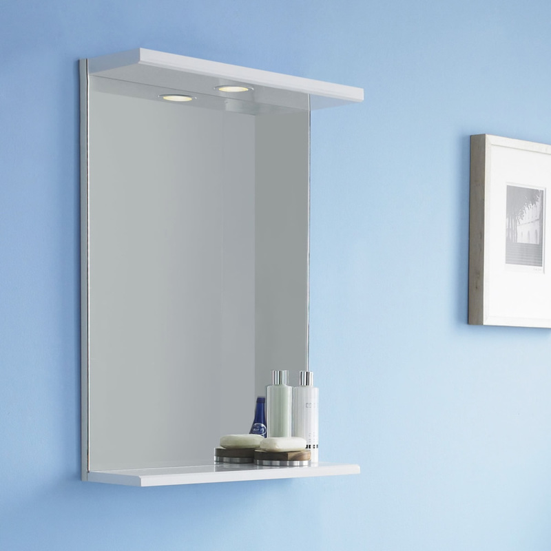 specchio bagno con mensola 70 : Specchio con Mensola e Luce - FMV002M - Bagno