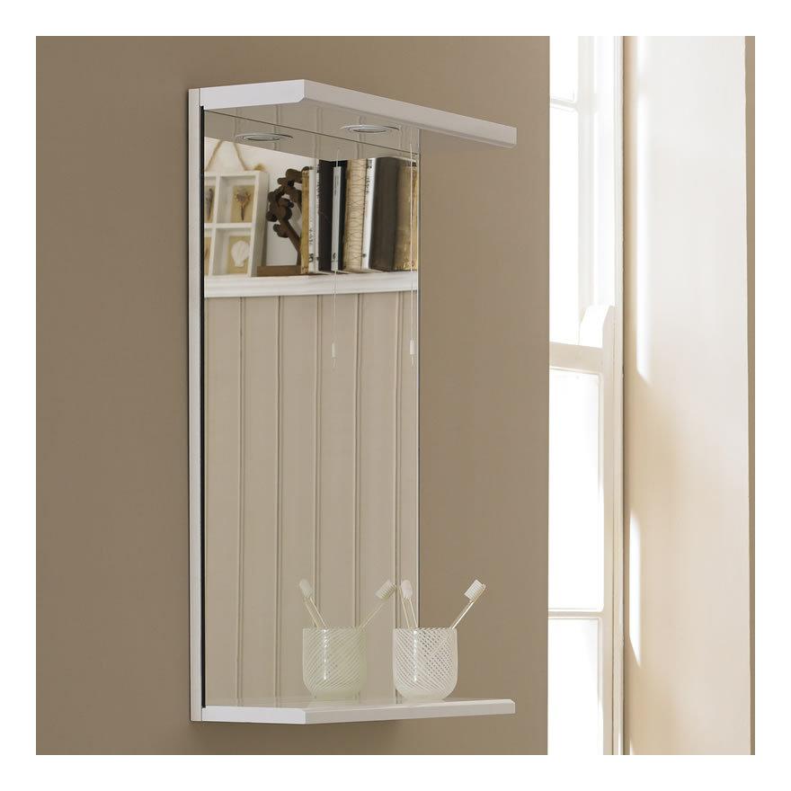 specchio bagno con mensola 70 : Specchio con Mensola e Luce di 450mm - FMV001M - Bagno