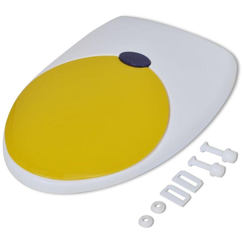 Baño De Asiento Vinagre Blanco:Tapa asiento de baño con cierre suave, color blanco y amarillo, para