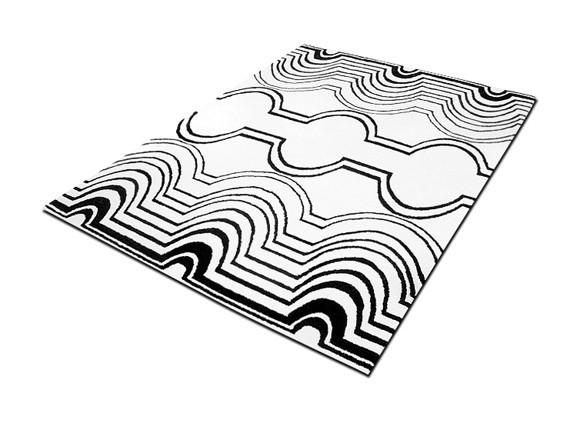 Tappeto design in lana 170 x 240 bianco nero p11566 - Tappeto bianco nero ...