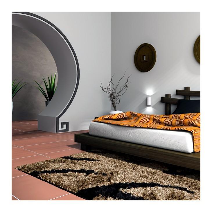 Tappeto moderno 160 x 230 nero e beige shaggy a pelo alto for Tappeto nero moderno