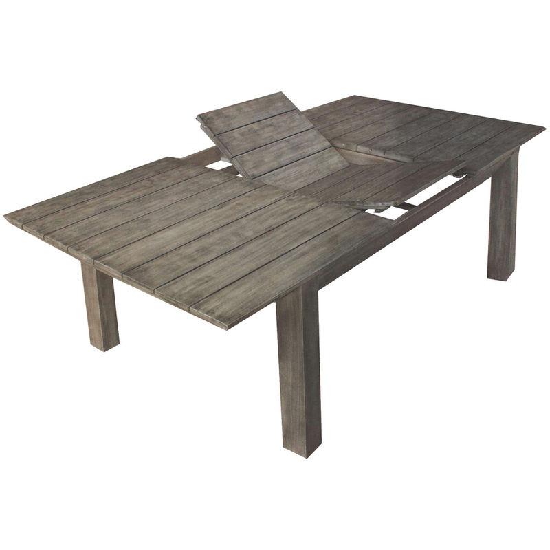 Tavolo allungabile 200 250cm in legno di acacia grigio for Tavolo allungabile grigio