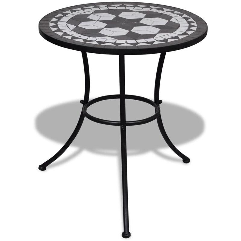 Tavolo con mosaico 60 cm nero bianco giardino piscina - Tavolo profondita 60 cm ...