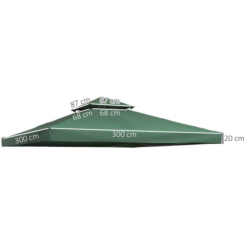 Techo de reemplazo para carpa 3x3m pabellon toldo verde for Carpas para piscinas
